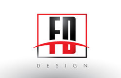 FD F D Logo Letters with Red and Black Colors and Swoosh. Stock Photo