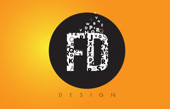 FD F D Logo Made of Small Letters with Black Circle and Yellow B Royalty Free Stock Images