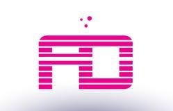 Fd f d pink purple line stripe alphabet letter logo vector templ Royalty Free Stock Images