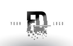 FD F D Pixel Letter Logo with Digital Shattered Black Squares Royalty Free Stock Photos