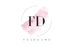 FD F D Watercolor Letter Logo Design with Circular Brush Pattern Royalty Free Stock Image