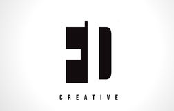 FD F D White Letter Logo Design with Black Square. Royalty Free Stock Image