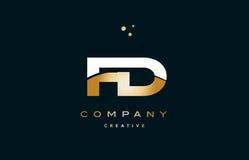 Fd f d  white yellow gold golden luxury alphabet letter logo ico Stock Image