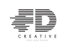 FD F D Zebra Letter Logo Design with Black and White Stripes Stock Photo