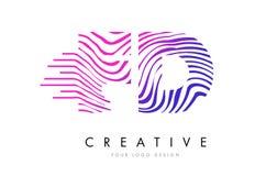 FD F D Zebra Lines Letter Logo Design with Magenta Colors Stock Photo