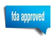 Fda approved blue 3d speech bubble. Fda approved blue 3d square isolated speech bubble Stock Image