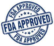 Fda approved blue grunge round stamp Stock Images