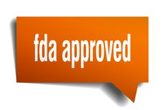 Fda approved orange 3d speech bubble. Fda approved orange 3d square isolated speech bubble Royalty Free Stock Photo
