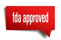 Fda approved red 3d speech bubble. Fda approved red 3d square isolated speech bubble Royalty Free Stock Image