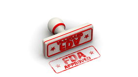 FDA approved. Stamp leaves a imprint. Red seal and imprint `FDA APPROVED` on white surface. FDA - Food and Drug Administration is a federal agency of the United vector illustration