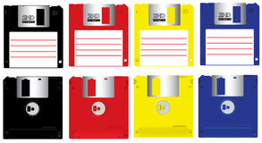 Fdd vector set. Complete set colorful floppy disk front and back isolated vector Stock Images