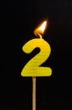 Födelsedag-årsdag stearinljusnummer 2 Fotografering för Bildbyråer