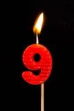 Födelsedag-årsdag stearinljusnummer 9 Fotografering för Bildbyråer