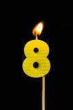 Födelsedag-årsdag stearinljusnummer 8 Royaltyfri Fotografi
