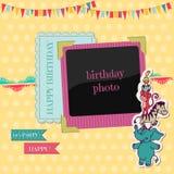 Födelsedagkort med fotoramen Arkivfoto