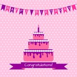 Födelsedagkort med kakan Arkivfoton
