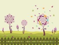 födelsedagkortet blommar lyckligt Fotografering för Bildbyråer