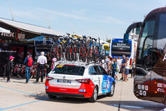 FDJ team car on 100th Giro d`Italia opening day Royalty Free Stock Images