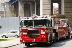 FDNY塔梯子118卡车在布鲁克林 免版税库存图片
