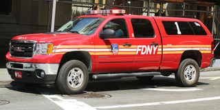 FDNY-Bataljon 1 belangrijkst SUV in Lower Manhattan Stock Afbeeldingen