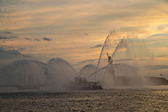 FDNY boat spraying water in front of Statue Of Liberty during Ne Royalty Free Stock Photo