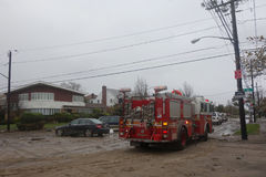 FDNY Engine 276 helped Queens residents after massive devastation in the aftermath of Hurricane Sandy Stock Images