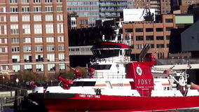 FDNY Fire Department Ship New York USA cityscapes. FDNY Fire Department Ship New York United States cityscapes videoclip stock video