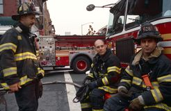 FDNY firefighters on duty, New York City, USA Royalty Free Stock Photo