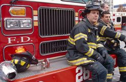 FDNY firefighters on duty, New York City, USA Stock Photography