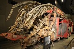 FDNY Ladder 3. New York Fire Department Ladder Truck destroyed during the 911 terror attack on the World Trade Center`s Twin Towers displayed at the 911 Museum royalty free stock image