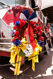 FDNY Memorial wreath on fire truck. FDNY Memorial wreath and fire truck on display at the San Diego County Fair, June 7, 2014 - Del Mar, CA. Photo taken on June royalty free stock photography