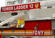 FDNY Tower Ladder 12 truck in Manhattan Royalty Free Stock Images