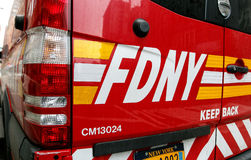 FDNY vehicle. New York, January 21, 2017: Closeup of a rear of an FDNY vehicle parked in the streets of Manhattan Stock Photos