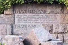 我恨战争引文FDR纪念华盛顿特区 图库摄影