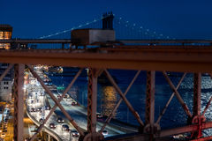 FDR Drive Highway at Night viewed from the Brooklyn Bridge, New Royalty Free Stock Photo
