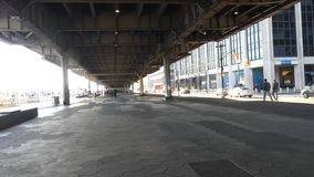 FDR Drive in New York City. Under the FDR Drive, a highway in New York City stock footage