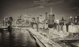 FDR Drive at night in New York City with car traffic Royalty Free Stock Image