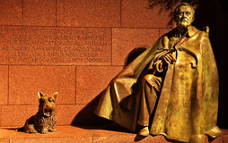 FDR Memorial Statue Washington DC. Franklin Delano Roosevelt Memorial and Statue with Fala, FDR's dog, Night Washington DC Sculptor is Neil Estern royalty free stock image