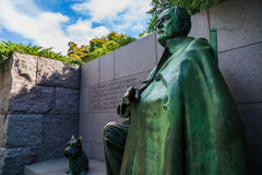 FDR Memorial in Washington DC. A statue of Franklin Delano Roosevelt and his dog at the FDR memorial in Washington DC Stock Photography