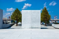 FDR's Four Freedoms Speech. This is a statue of FDR's Four Freedoms Speech craved into granite. It is part of a memorial to President Franklin D. Roosevelt in Stock Photos
