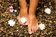 Füße auf Steinen mit Blumen Stockfotos