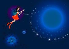 Fée de beauté avec la baguette magique magique Image libre de droits