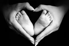 Füße des Schätzchens in den Palmen der Mammas Lizenzfreies Stockfoto