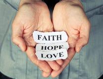Fe, esperanza y amor fotos de archivo