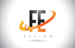 FE F E Letter Logo with Fire Flames Design and Orange Swoosh. FE F E Letter Logo Design with Fire Flames and Orange Swoosh Vector Illustration Stock Image