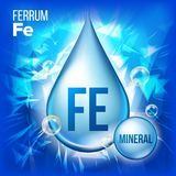 Fe Ferrum Vector. Mineral Blue Drop Icon. Vitamin Liquid Droplet Icon. Substance For Beauty, Cosmetic, Heath Promo Ads stock illustration
