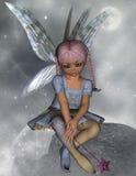 Fée s'asseyant sur une roche avec la baguette magique d'étoile Photo libre de droits