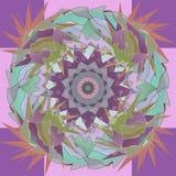 FEAHTERS GRA GŁÓWNA ROLĘ mandala, ŚRODKOWY projekt W PASTELOWYCH kolorach barłogi, seledyn, purpura, menchie, oliwka abstrakcyjny royalty ilustracja