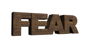 Fear. Bricked word fear on white background - 3d illustration stock illustration