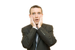 Fear. Scared businessman on white background Royalty Free Stock Image